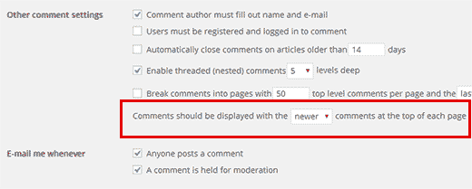 Display newer comments on top in WordPress