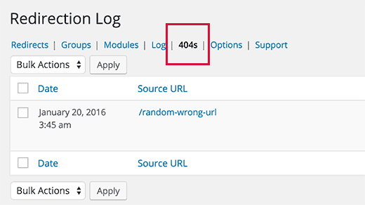 Track 404 errors in WordPress with Redirection plugin
