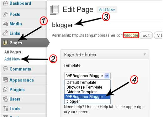 Edit Page in WordPress