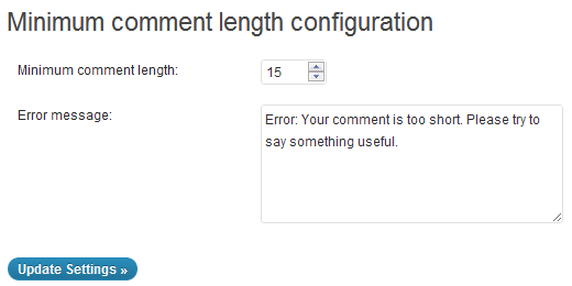 Minimum Comment Length in WordPress