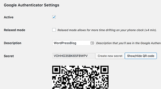 Google Authenticator WordPress plugin settings
