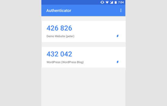 Google authenticator time based codes