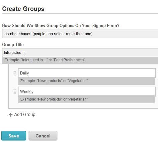 MailChimp Create Groups