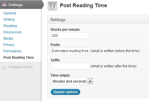 Post Reading Time Plugin Screenshot