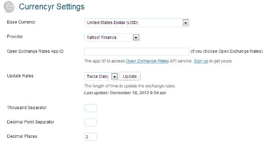 Currencyr Settings Page