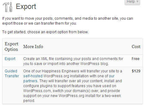 Free or Guided Transfer from WordPress.com