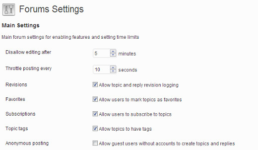 bbPress forums settings page