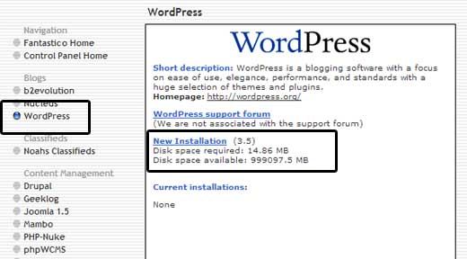 Fantastico WordPress Info