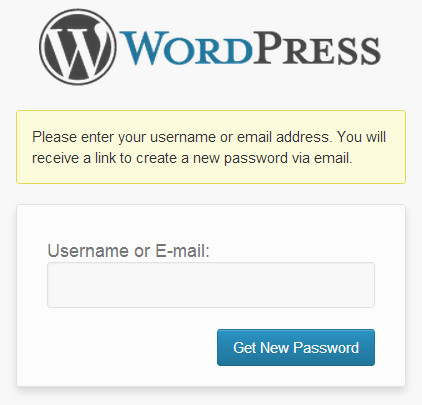 WordPress Password Recovery Screen