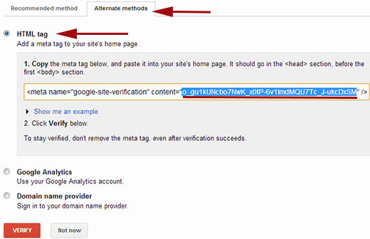Verify ownership of your website in Google Webmaster Tools with HTML Meta Tag
