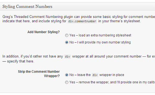 Configuring threaded comment numbering plugin