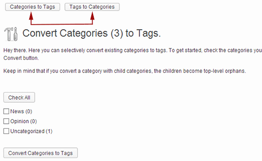 Convert categories to tags or tags to categories
