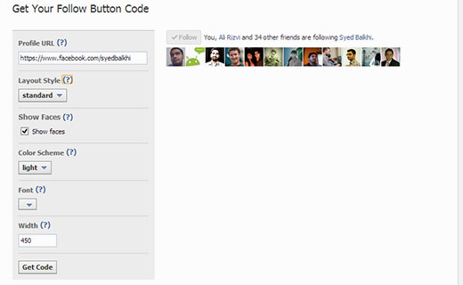 Manually adding Facebook follow button from Facebook social plugins website