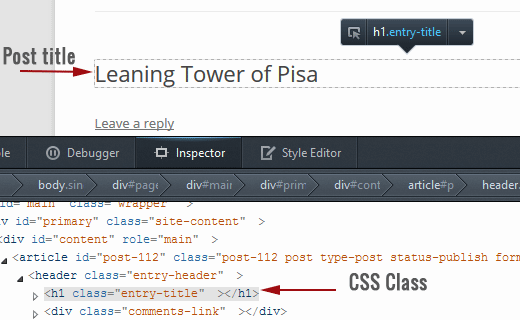 Finding CSS class used for an element
