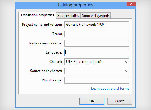 Setting catalog properties for your Translation project