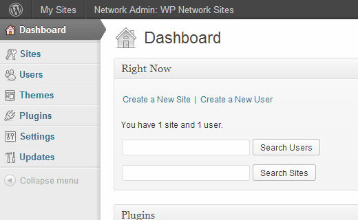 WordPress Multisite Network Admin Dashboard