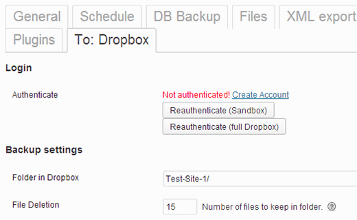 Authenticate with Dropbox to save your backups to Dropbox