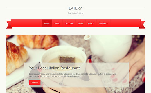 Eatery - WordPress Restaurant Theme