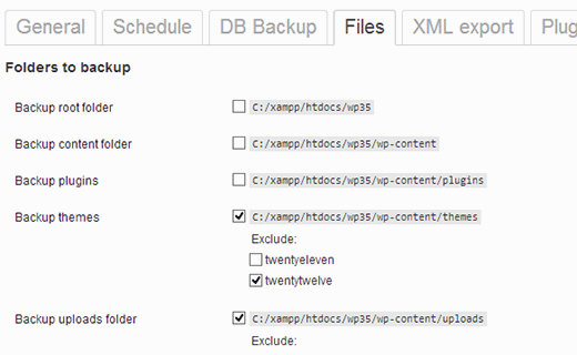 Select or Include files and directories from backup job