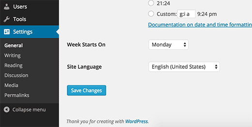 Changing WordPress site language from WordPress admin area