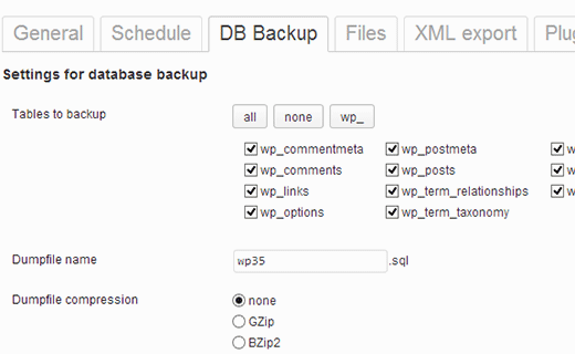 Select or exclude tables from backup job