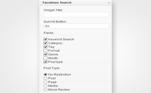 Configuration options for Facetious search widget