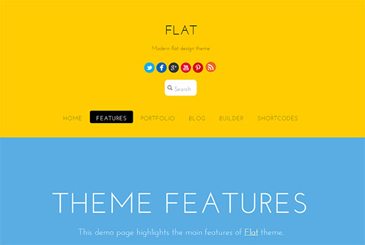 Flat, a colorful responsive portfolio theme for WordPress