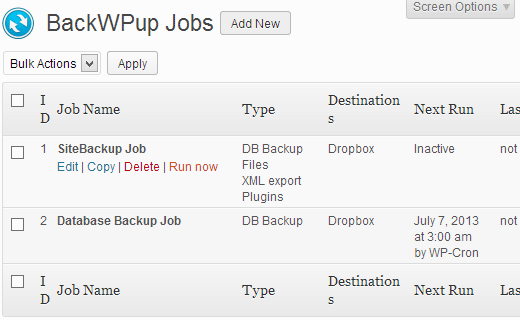 Creating and managing multiple Backup Jobs