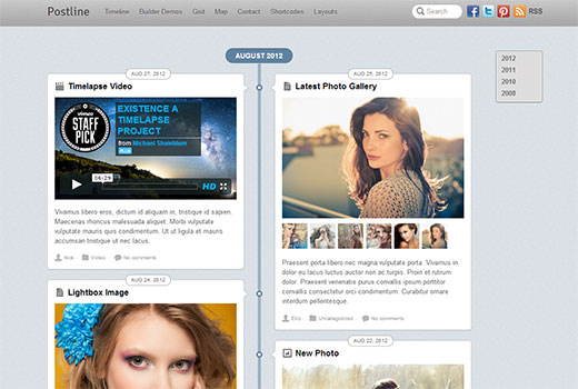 A Facebook timeline like responsive WordPress Theme