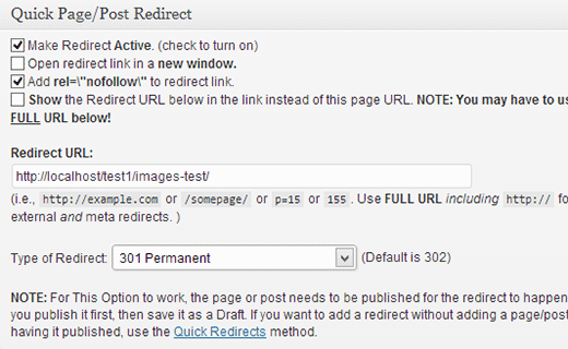 Setting up a redirect for a post or plugin