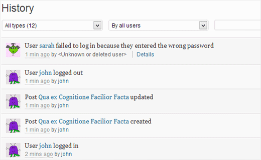 History page showing latest user activity on a WordPress website