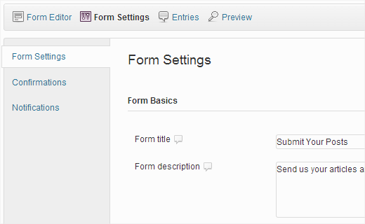 Configure form settings to prevent spam