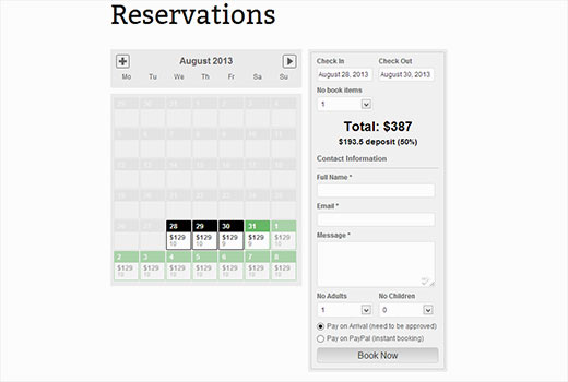 reservation hôtel wordpress