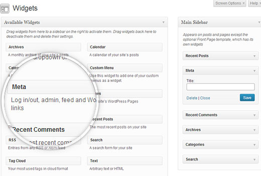 Adding register and login links in WordPress using Meta widget