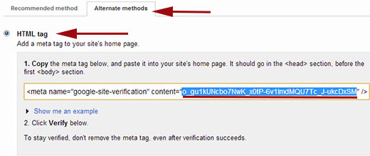 verifying ownership of your site in Google Webmaster Tools