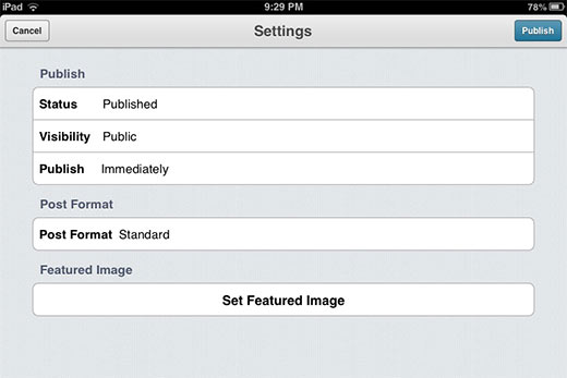 Post settings in WordPress app