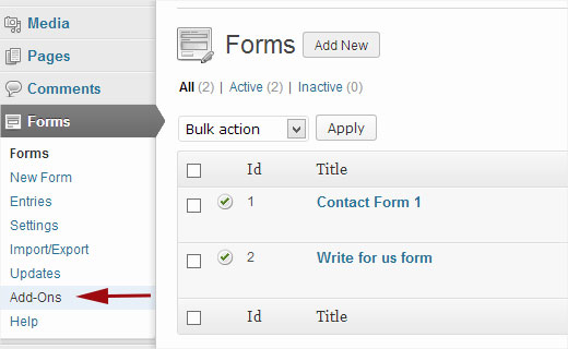 Gravity Forms Add-Ons Manager in WordPress