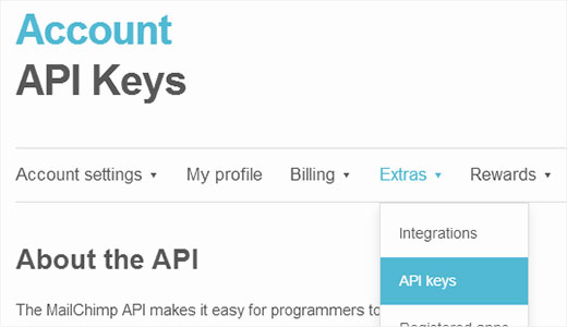 Creating an API Key with MailChimp