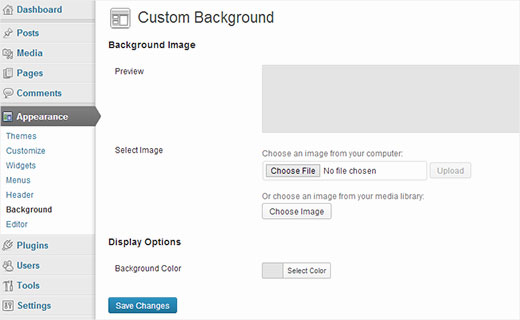Adding a custom background image in WordPress