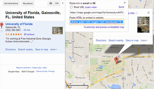 Manually embed a Google Map in WordPress