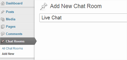 Creating a new chat room in WordPress