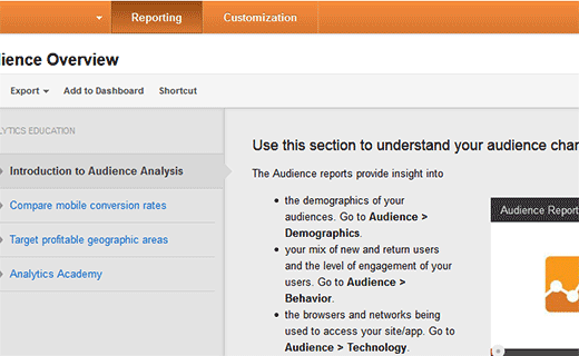 Analytics reporting overview screen