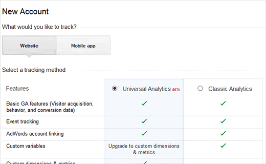 Step 3 of Google Analytics Signup