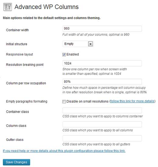Advanced WP Columns Settings