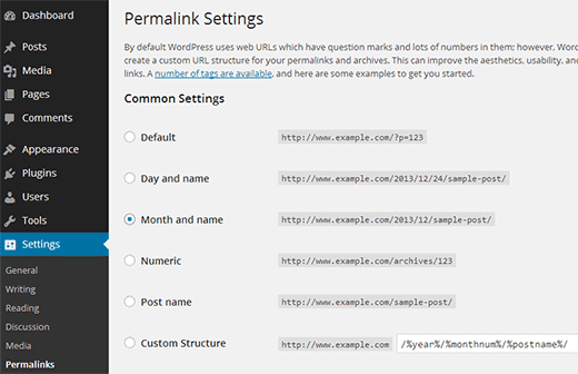 Choosing a permalink structure for your WordPress site