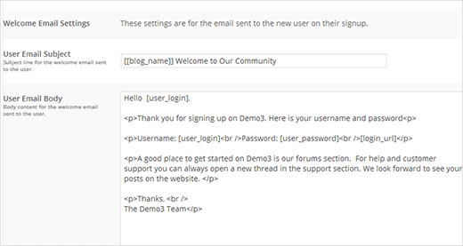 Create your custom welcome email message