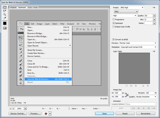Adobe Photoshop Save for Web Box