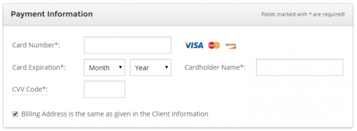 Enter your SiteGround payment info.