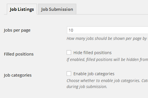 Job listings settings