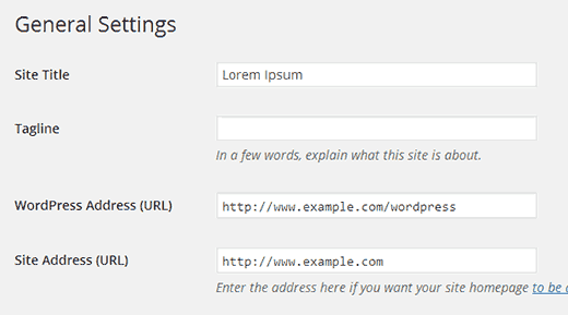 Changing your site address setting in WordPress